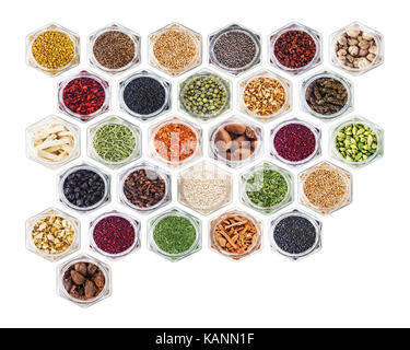 Spices and herbs on white background - Stock Photo