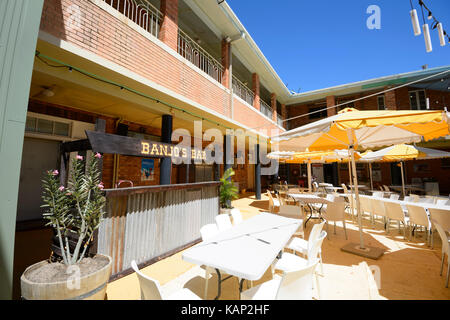 Banjo' s Bar in the Patio of the North Gregory Hotel where Waltzing Matilda was first performed, in the small rural - Stock Photo