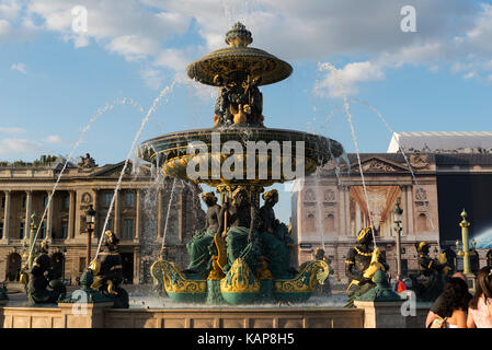Fountain of River Commerce and Navigation a monumental fountain located in the Place de la Concorde in the center - Stock Photo