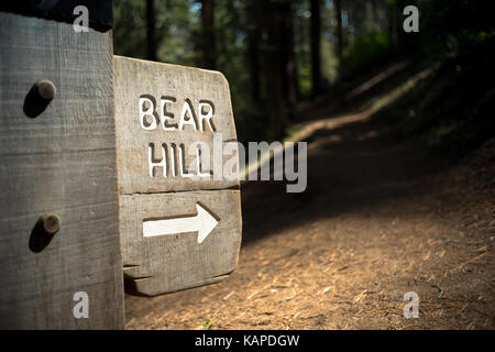 A sign reads, 'Bear Hill' at the head of a trail in Sequoia National Park, California. - Stock Photo