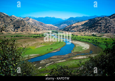 Scenic View of Three Rivers and Sierra Nevada Mountains, located in Three Rivers, California. - Stock Photo