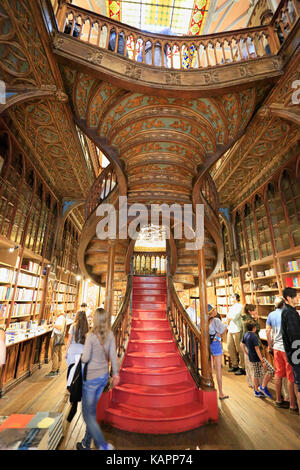 PORTO, PORTUGAL - JULY 07, 2017: High angle view of stairs inside the famous bookshop Lello e Irmao, considered - Stock Photo