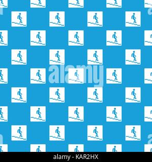 Underpass road sign pattern seamless blue - Stock Photo