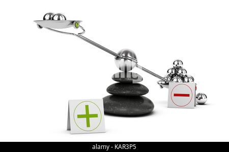 Seesaw containing metal spheres inclined on the negative side. Concept of Pros and cons analysis over white background. - Stock Photo