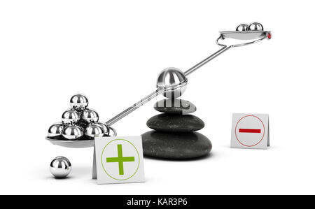 Seesaw containing metal spheres inclined on the positive side. Concept of Pros and cons analysis over white background. - Stock Photo
