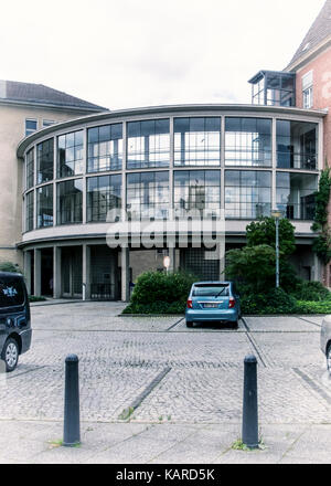 Berlin Wittenau, Eichborndamm.Town Hall Reinickendorf.New modern glassbuilding joining historic old building with - Stock Photo
