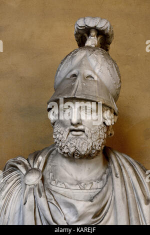 Pyrrhus on the Courtyard of Palazzo Pitti, Florence. A fragment from an ancient Roman face of a god, completed in - Stock Photo