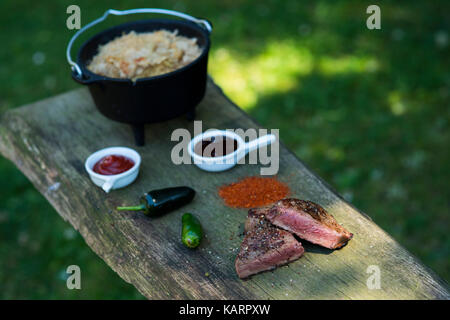 Meat and dutch oven on a garden barbeque - Stock Photo