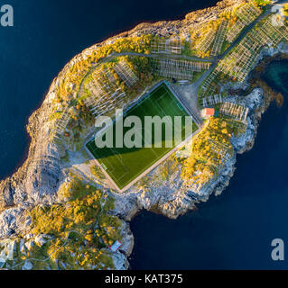 Football field in Henningsvaer from above. Henningsvaer is a fishing village located on several small islands in - Stock Photo