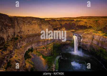 Palouse Falls  on the Palouse River in Washington state, USA, photographed at sunset - Stock Photo
