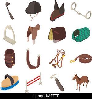 Horse sport equipment icons set, isometric style - Stock Photo