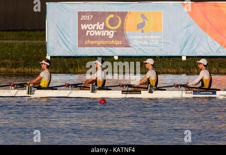 Sarasota-Bradenton, Florida, USA. 27th Sep, 2017. Team Australia warms up before the World Rowing Championships being held at Nathan Benderson Park in Sarasota-Bradenton, Florida. Del Mecum/CSM/Alamy Live News