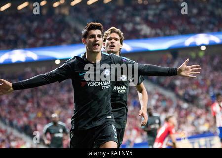 Madrid, Spain. 27th Sep, 2017. Alvaro Morata (Forward, Chelsea FC) celebrates his first goal during the football - Stock Photo