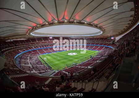 Madrid, Spain. 27th Sep, 2017. General view of Wanda Metropolitano Stadium before the match between Atletico Madrid - Stock Photo