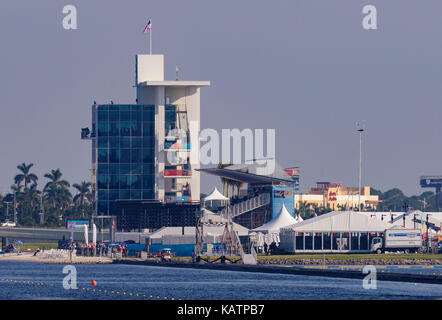 Sarasota-Bradenton, Florida, USA. 27th Sep, 2017. A look towards the finish tower, the grandstand and the spectator area before the start of the World Rowing Championships being held at Nathan Benderson Park in Sarasota-Bradenton, Florida. Del Mecum/CSM/Alamy Live News