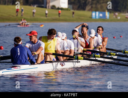 Sarasota-Bradenton, Florida, USA. 27th Sep, 2017. Team Russia, 8 man, warms up before the start of the World Rowing Championships being held at Nathan Benderson Park in Sarasota-Bradenton, Florida. Del Mecum/CSM/Alamy Live News