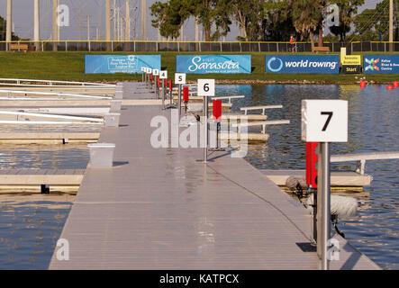 Sarasota-Bradenton, Florida, USA. 27th Sep, 2017. The starting line docks at the World Rowing Championships being held at Nathan Benderson Park in Sarasota-Bradenton, Florida. Del Mecum/CSM/Alamy Live News