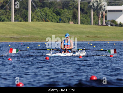 Sarasota-Bradenton, Florida, USA. 27th Sep, 2017. Simone Baldini of Team Italy during the (PR1 M1x) PR1 Men's Single Sculls - Repechage in the World Rowing Championships being held at Nathan Benderson Park in Sarasota-Bradenton, Florida. Del Mecum/CSM/Alamy Live News