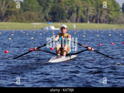 Sarasota-Bradenton, Florida, USA. 27th Sep, 2017. Maksym Rashchepkin of Team Ukraine during the (M1x) Men's Single Sculls - Semifinal in the World Rowing Championships being held at Nathan Benderson Park in Sarasota-Bradenton, Florida. Del Mecum/CSM/Alamy Live News
