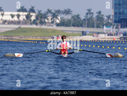 Sarasota-Bradenton, Florida, USA. 27th Sep, 2017. Pengpeng Cai of Team China during the (M1x) Men's Single Sculls - Semifinal in the World Rowing Championships being held at Nathan Benderson Park in Sarasota-Bradenton, Florida. Del Mecum/CSM/Alamy Live News
