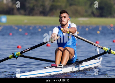 Sarasota-Bradenton, Florida, USA. 27th Sep, 2017. Salvatore Monfrecola of Team Italy during the (M1x) Men's Single Sculls - Semifinal in the World Rowing Championships being held at Nathan Benderson Park in Sarasota-Bradenton, Florida. Del Mecum/CSM/Alamy Live News