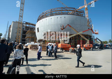 Los Angeles, USA. 27th Sep, 2017. Construction underway on The Academy Museum of Motion Pictures designed by architect - Stock Photo