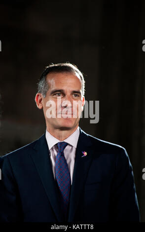 Los Angeles, USA. 27th Sep, 2017. Los Angeles Mayor Eric Garcetti attending a press conference for The Academy Museum - Stock Photo