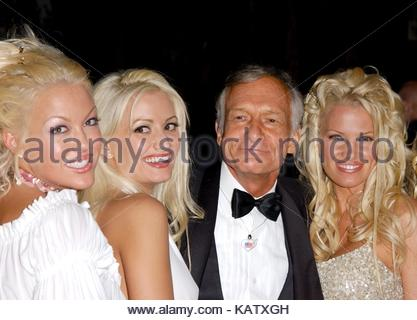 File: 27th Sep, 2017. Photo taken:  Hugh Hefner with his many girlfriends Sony Music post Grammy party Morton's - Stock Photo