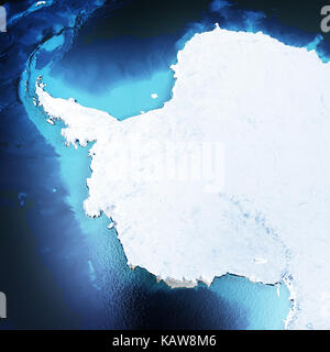 Antarctica, South Pole. Elements of this image furnished by NASA. 3D rendering - Stock Photo
