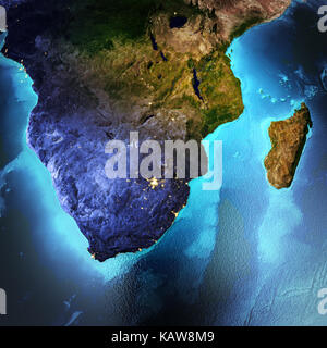 South Africa, Madagascar. Elements of this image furnished by NASA. 3D rendering - Stock Photo