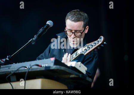 The British electronic music band Hot Chip performs a live concert at the music festival Lollapalooza 2015 in Berlin. - Stock Photo