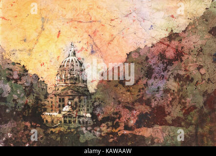Watercolor batik painting on rice paper of exterior of State Capitol in Harrisburgh, Pennsylvania. - Stock Photo