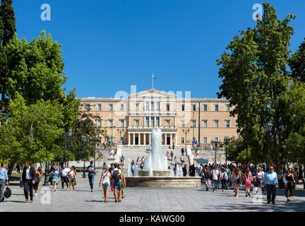 Greek Parliament building (Old Royal Palace) in Syntagma Square, Athens, Greece - Stock Photo