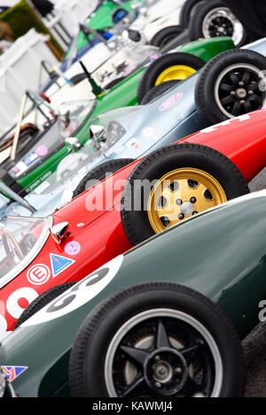 Vintage Formula Junior racing cars in the assembly area for the Chichester Cup at Goodwood Revival 2017. Space for - Stock Photo