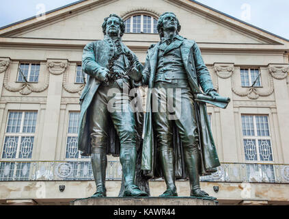 Germany, Thuringia, Weimar, Goethe-Schiller Monument, a bronce double statue of the two most revered figures in - Stock Photo
