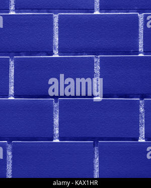 Vertical Image of Bricks Wall in Vivid Blue Color, Closed up for Background, Pattern - Stock Photo