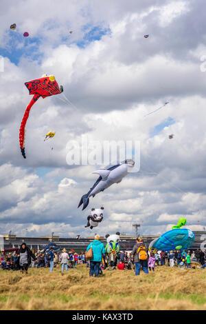 Kite festival at Tempelhofer Feld in Berlin, Germany 2017. - Stock Photo