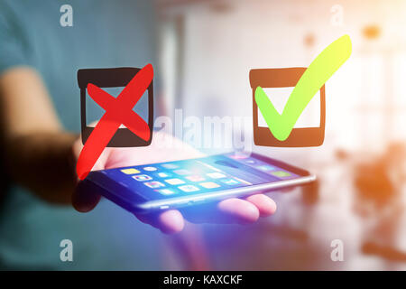 View of Hand drawn green and red tick icon going out a smartphone interface of a man at the office - Ideas concept - Stock Photo