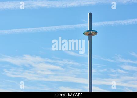 Detail shot of British Airways' i360 viewing tower in Brighton. - Stock Photo