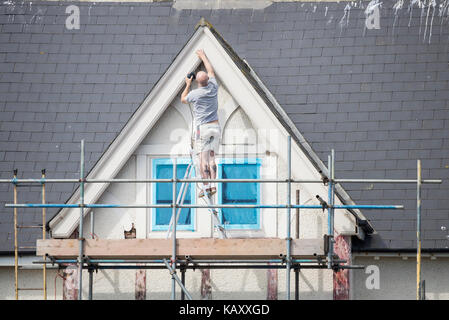 Man precariously standing on step ladder on scaffolding while repairing woodwork around house window. UK - Stock Photo