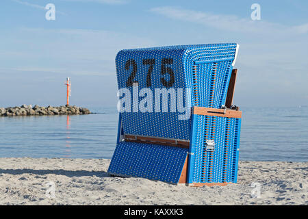 basket chair at the beach, Baltic Sea Spa Damp, Schleswig-Holstein, Germany - Stock Photo