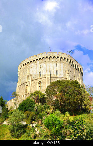 Round Tower and moat garden at  Windsor Castle - the Queens Royal weekend residence ,Windsor, Berksire , England - Stock Photo