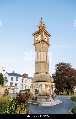 The iconic Albert Clock tower, a historic landmark in Barnstaple, the main town of North Devon, England, the lowest - Stock Photo