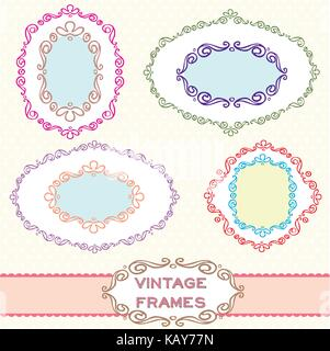 Set of vintage label borders suitable for card making, invitation design and decorative ornament. - Stock Photo