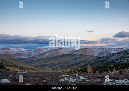 mongolian landscape in fall colours - Stock Photo