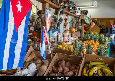 Miami, Florida.  Little Havana Cuban Fruit Store, Los Pinarenos Fruteria. - Stock Photo
