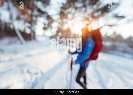 Woman Traveler out of focus with backpack hiking Travel Lifestyle adventure concept active vacations outdoor. - Stock Photo