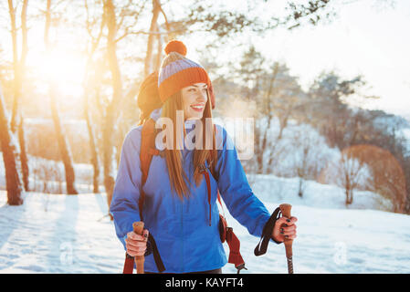 Woman Traveler with backpack hiking Travel Lifestyle adventure concept active vacations outdoor. Beautiful landscape - Stock Photo