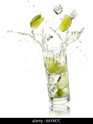 glass full of water with lime slices and ice cubes falling and splashing water, on white background - Stock Photo