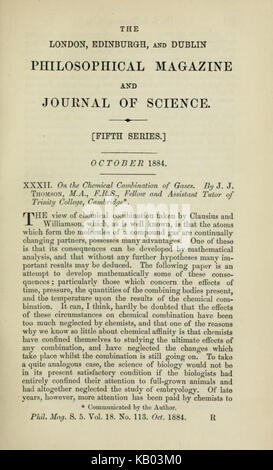 Title page On the Chemical Combination of Gases by Joseph John Thomson 1856 1940 - Stock Photo